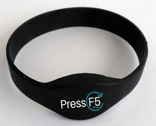 100 x Your Brand on RFID WristBand – 65mm – Black